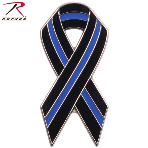 Rothco Thin Blue Line Ribbon Pin - Brass Plated & Carded Police Support Pin