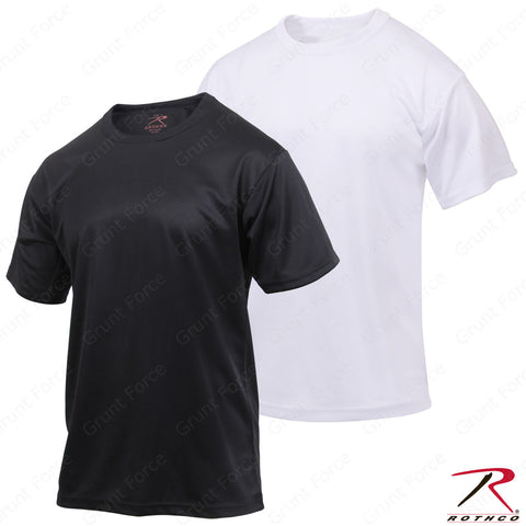Men's Moisture Wicking T-Shirt Black or White - Rothco Quick Dry Polyester Tee