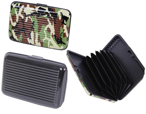 "4"" Woodland Camouflage or Black Expandable Hard-Case Aluminum Wallet"