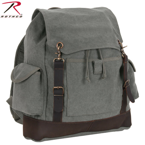 Rothco Vintage Expedition Rucksack - Charcoal Grey Cotton Canvas Backpack 8707