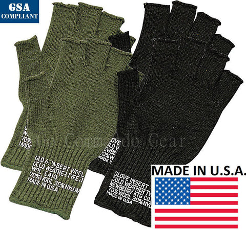Warm Fingerless Gloves - Black or Olive Wool Blend Glove Insert GSA Compliant