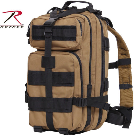 Coyote Brown & Black Medium Transport Pack Backpack - Rothco Tactical MOLLE Bag