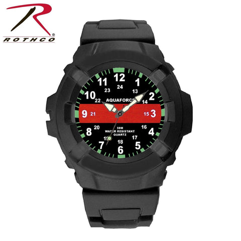Aquaforce Thin Red Line Watch - Men's Tactical Water Resistant Luminous Watch