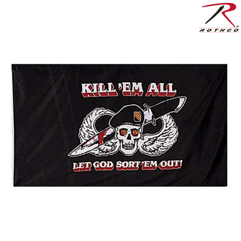 "3'x5' ""Kill 'Em All Let God Sort 'Em Out"" Flag - Rothco Polyester Military Flags"