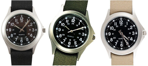 Military Style Quartz Watches Black, OD, Tan G.I. Type Classic Analogue Watch