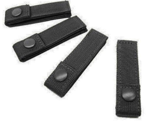 "Black 4"" Long MOD Strap 4 PACK MOLLE Modular Tactical Web Straps"
