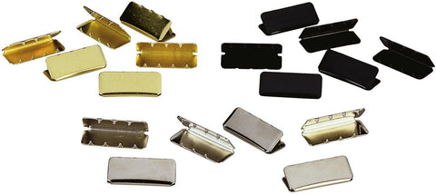 "100 Pack GI Type Military Web Belt Tips - Black Brass or Chrome for 1¼"" Belts"