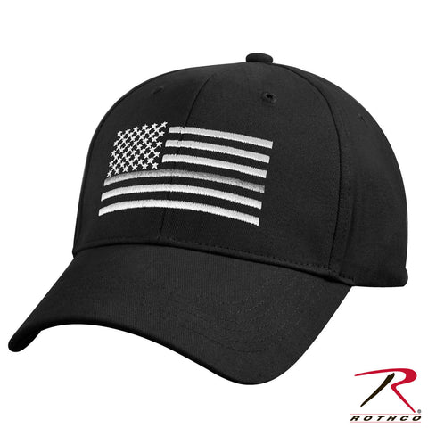 Black Mid To Low Profile Hat - Embroidered Thin Silver Line US Flag Cap Rothco