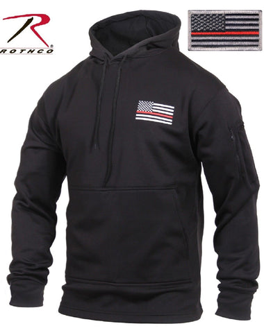 Thin Red Line Concealed Carry Hooded Sweatshirt - Black Firemans Hoodie & Patch