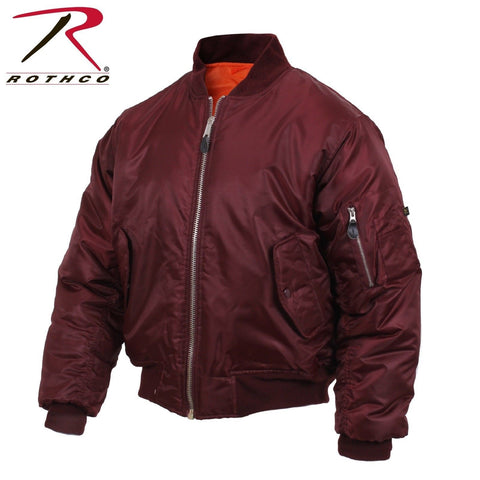 Rothco MA-1 Flight Jacket - Maroon Military Style Flight Bomber Puffer Jackets