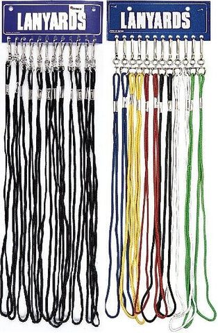 12-Pack Assorted Colors or All Black Whistles with Lanyard and Display Card