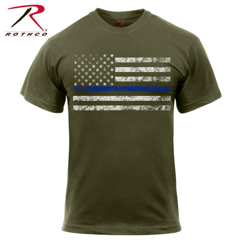 Rothco Olive Drab Thin Blue Line T-Shirt - Enforcement Support Tee Shirt