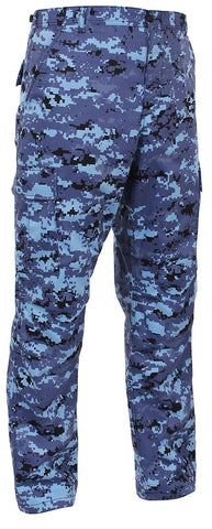 Men's Sky Blue Digital Camo BDU Cargo Pants - Tactical Military Style S - 3XL