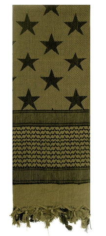 Olive Drab Stars & Stripes Cotton Tactical Shemagh Desert Scarf Keffiyeh Scarves