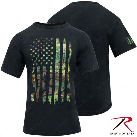 Rothco Men's Athletic Fit Black T-Shirt w/ Camo US Flag