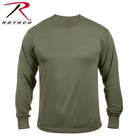 Rothco Moisture Wicking Long Sleeve T-Shirt - Mens 100% Polyester Olive Drab Tee