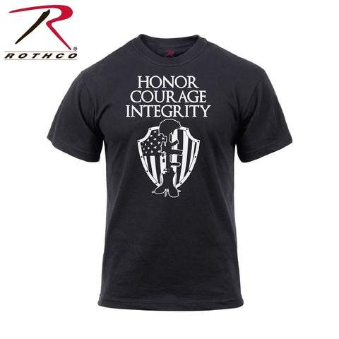 Rothco Honor Courage Integrity Athletic Fit T-Shirt - Men's Black Graphic Tee