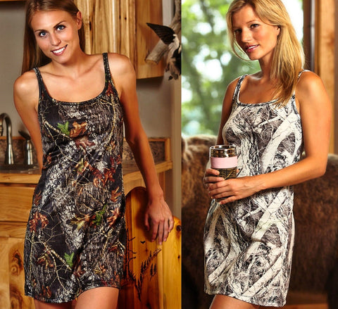 Women's Mossy Oak Camo or Naked North Snow Camouflage Tank Nightgown