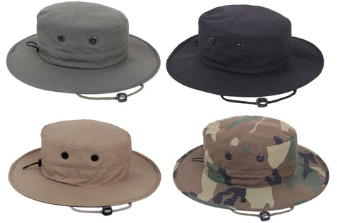 Adjustable Boonie Hat Lightweight Vented Bucket Bush Hat - OD Black Khaki Camo