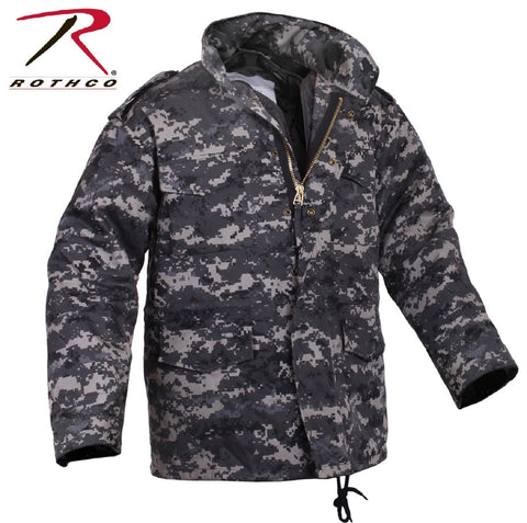 Mens Subdued Urban Digital Camo M-65 Field Jacket - Rothco Cotton Mil-Spec Coat
