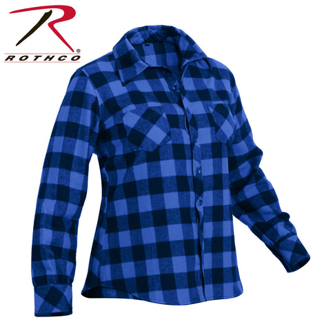 Womens Blue and Black Plaid Flannel Shirt - Rothco 100% Cotton Button Up Top