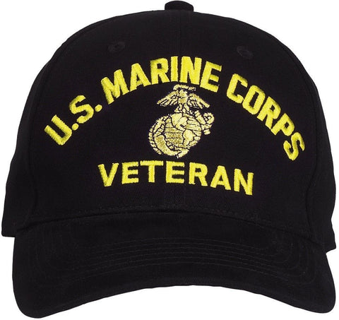 U.S. Marine Corps Veteran Cap - Black - Low Profile Baseball Hat