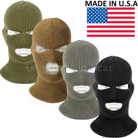 3 Hole Face Mask Ski Mask Winter Cap Balaclava Hood Army Tactical Mask USA MADE