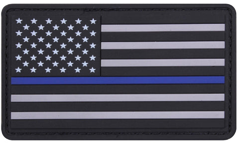 "PVC Thin Blue Line USA Flag Patch - 3"" Police Support Hook Back Morale Patches"
