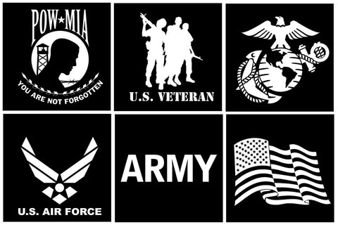 "6"" Vinyl Military Veteran, POW MIA & U.S. Flag Car & Truck Window Decal Stickers"