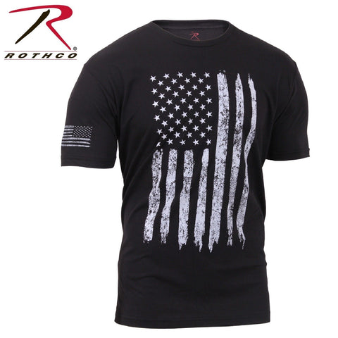 Rothco Distressed US Flag Black T-Shirt - Men's Poly/Cotton Athletic Fit Tee