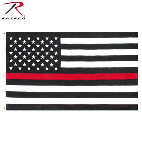 Rothco 2'x3' Thin Red Line U.S. Flag - 2 Grommet Holes - 100% Polyester Flag
