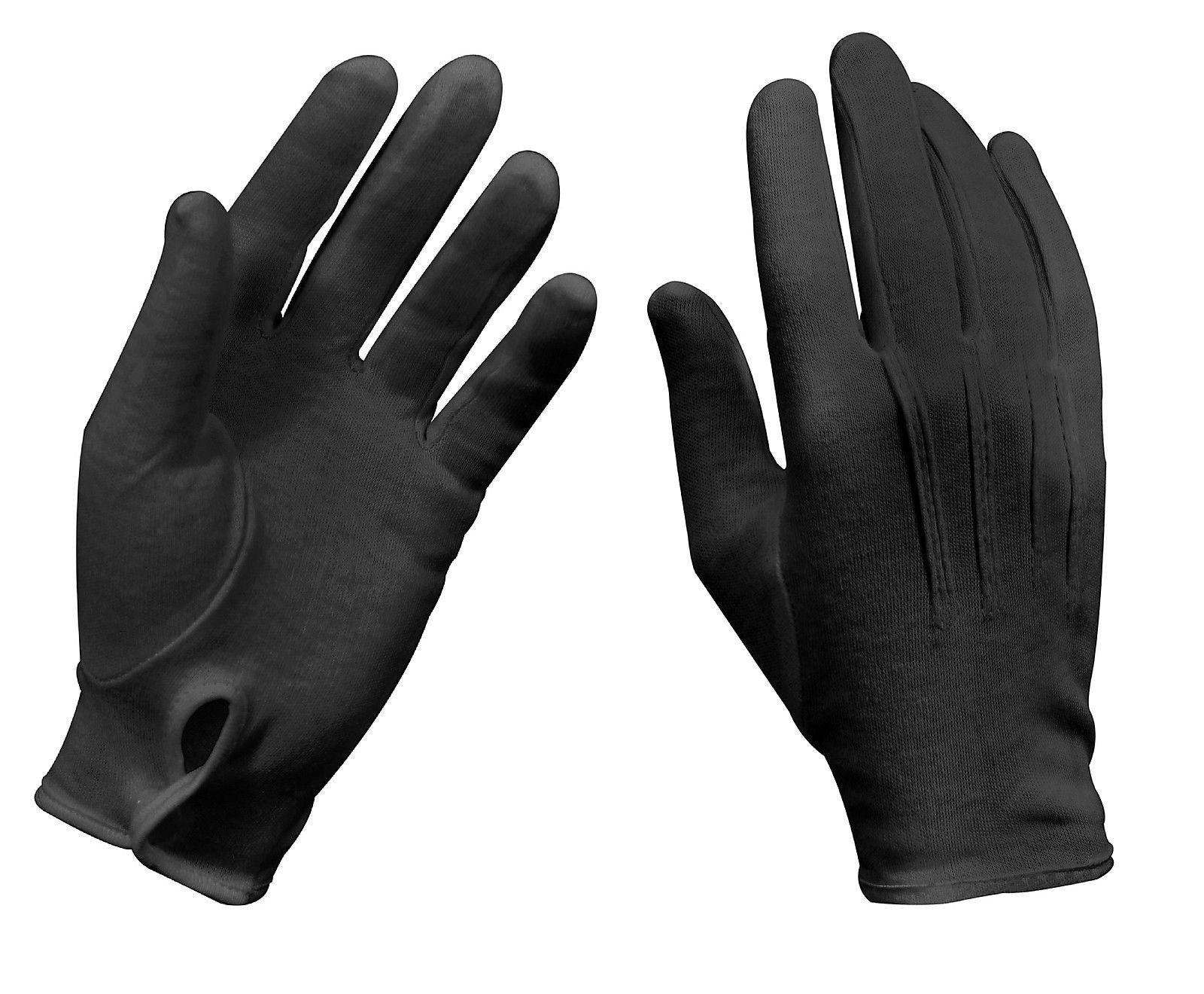 100/% Black Cotton Marching Parade Formal dress gloves Details about  /3 Pair 6 gloves Large