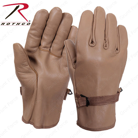 Coyote Brown D3-A Military Type Leather Gloves - Rothco Genuine Cowhide Leather