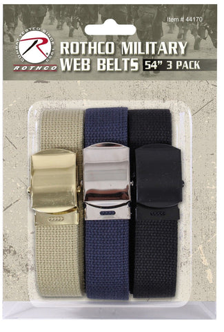 "Military Cotton Web Belt 3-Pack THREE 54"" Cut-To-Fit Khaki, Navy & Black Belts"