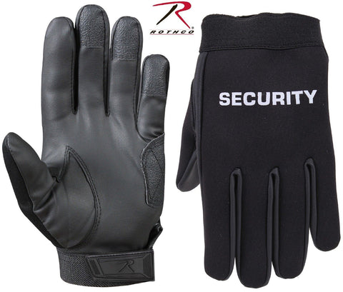 Black SECURITY Neoprene Gloves - Rothco Mens Tactical Duty Security Work Gloves