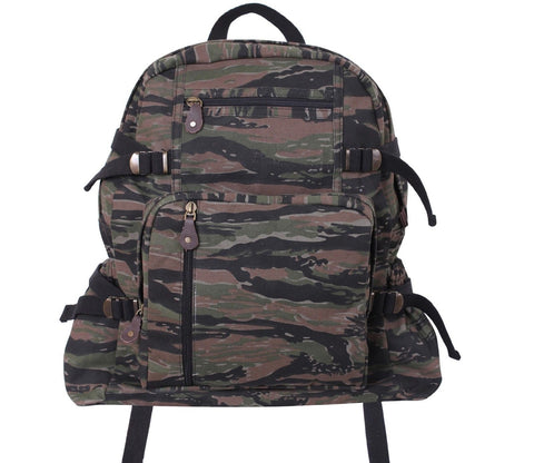 "Rothco 18"" Tiger Stripe Camo Large Vintage Canvas Backpack Bag"