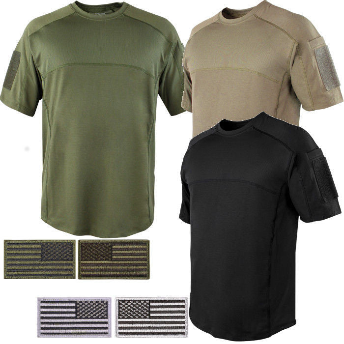 4b68cc90483d6 Condor Tactical Combat Short Sleeve Trident Battle Shirt with Two Patches  ...