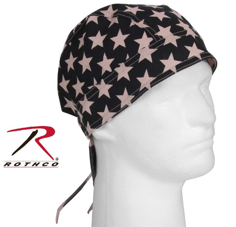 Subdued Khaki & Black USA Flag Headwrap - Patriotic American Bandana Head Wrap