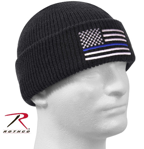 Thin Blue Line Embroidered Winter Watch Cap Rothco Black Police Support Ski Hat
