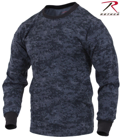 Rothco Mens Midnight Blue & Black Digital Camo Long Sleeve Camouflage Tee Shirt