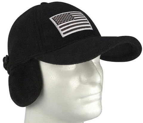 Black Polar Fleece Tactical Cap Hat w/ Earflaps and Silver Velcro Patch