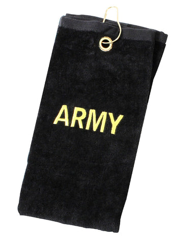 Army Golf Towels Embroidered Black & Gold USA Military Golf Bag Towel w/ Clip