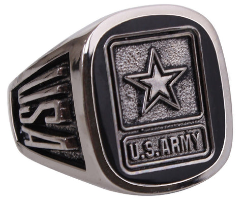 Men's U.S. ARMY Military Insignia Ring - Black Onyx Epoxy Polished USA Rings NEW