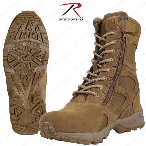 "Rothco Forced Entry 8"" Deployment Boots w/ Side Zipper - AR 670-1 Coyote Brown"