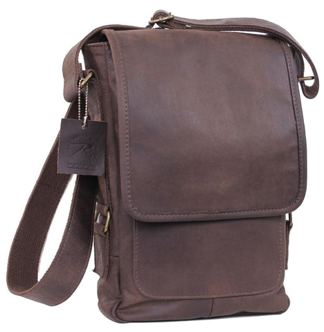 Durable & Stylish Brown Leather Military Tech Tablet Messenger Bag Rothco