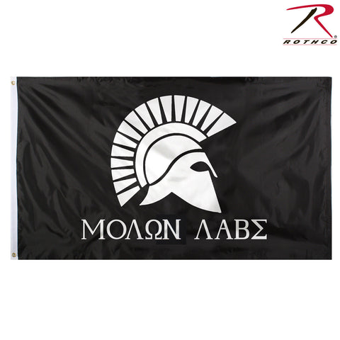 "Rothco ""Molon Labe"" 3' x 5' Military Flag - Black & White Spartan Helmet Flag"
