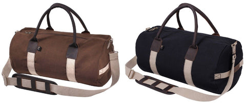 Rothco Canvas and Leather Gym Bag - Stylish Black or Brown Utility Shoulder Bags