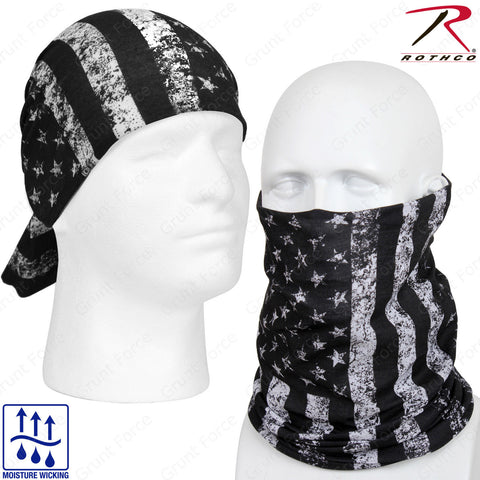 Rothco U.S. Flag Multi-Use Tactical Wrap - Black & White American Flag Head Wrap