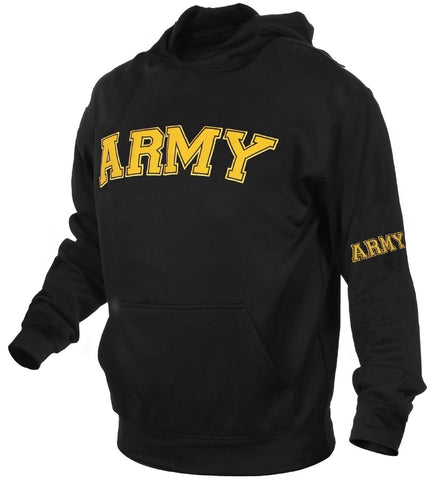 Men's Black & Gold Military Embroidered ARMY Pullover Hoodie Sweatshirt S-3XL