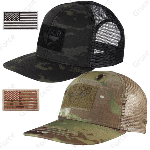 Condor Oudoor Adjustable Flat Bill Brim Mesh Trucker Cap Hat & USA Flag Patch
